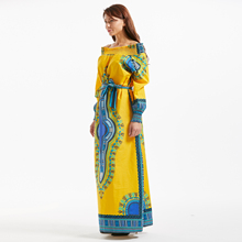New African Design Dashiki Bazin Long Sleeve Dress For Lady 100% Cotton 2019