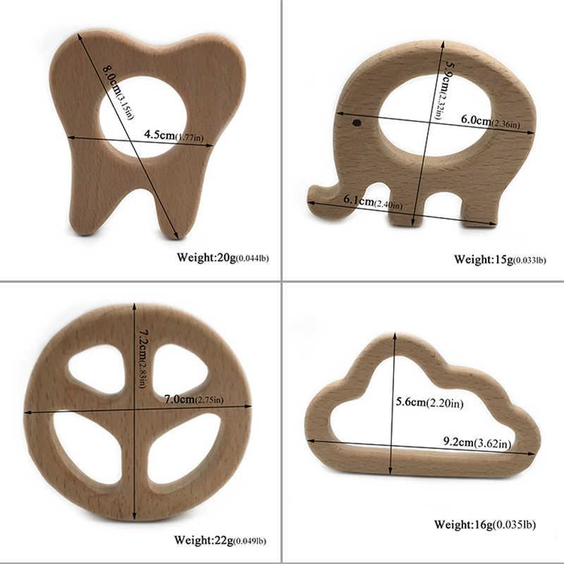 Kayu Teether Mainan Bayi Aman Perawat Menyusui Mengunyah Pelatihan Balita Unwaxed Beech Kayu Ramah Lingkungan Organik Bayi Teether