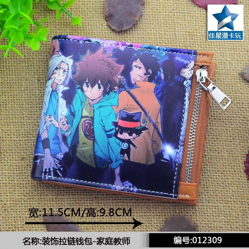Sawada Tsunayoshi Horizontal Zipper Wallet/Anime Hitman Reborn Short Frosted Purse anime evangelion naruto hitman reborn conan shugo chara bleach death note final fantasy pu short wallet purse with zipper