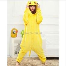 Barato Lindo Pikachu Pijamas animal unisex Pijamas Adultos Pijamas para mujer ropa de Dormir de franela Tops cosplay Onesies Traje Caliente de La Venta