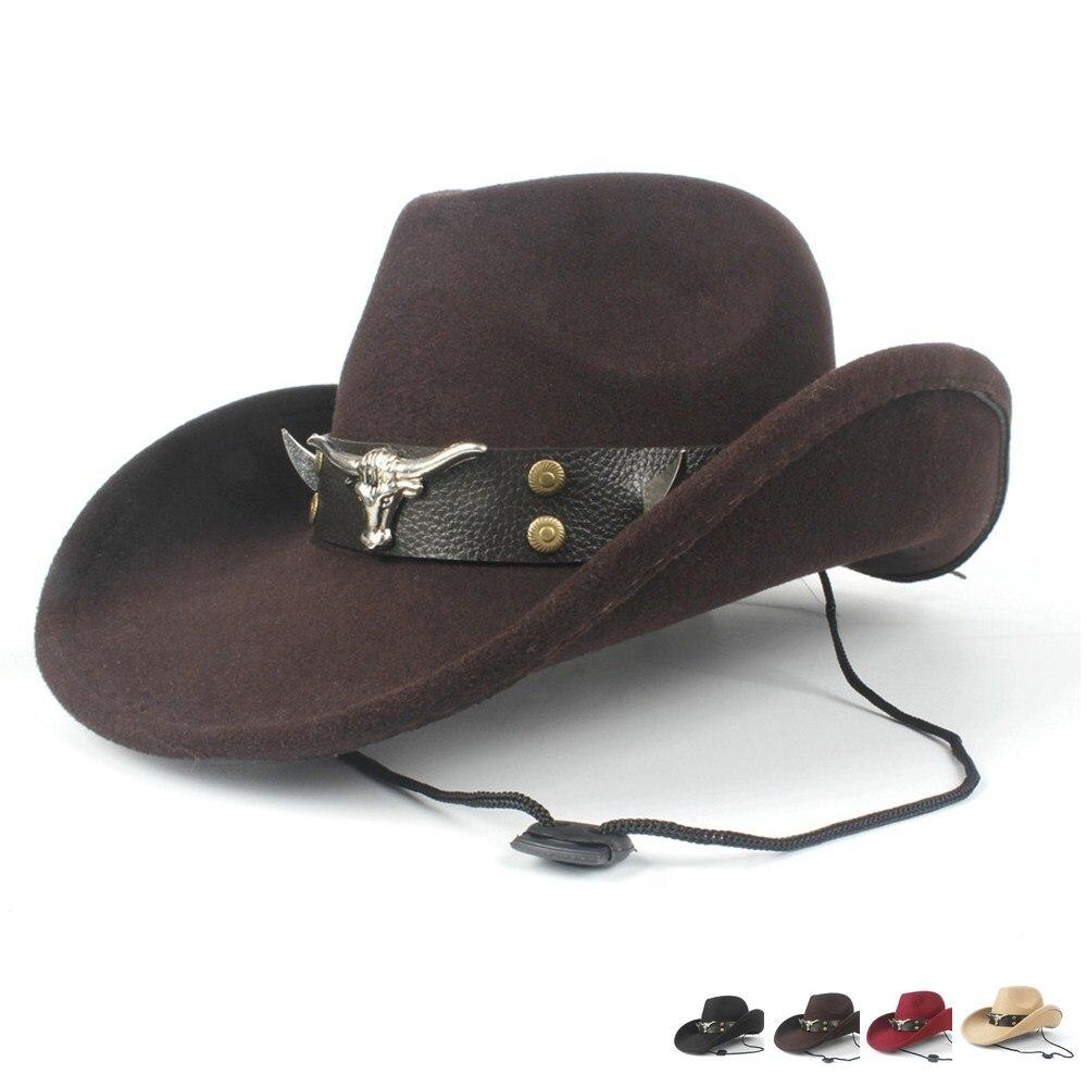 2019 Delle Donne Degli Uomini Di Lana Scava Cappello Da Cowboy Occidentale Del Roll-up Del Bordo Gentleman Fedora Outblack Sombrero Hombre Protezione Di Jazz