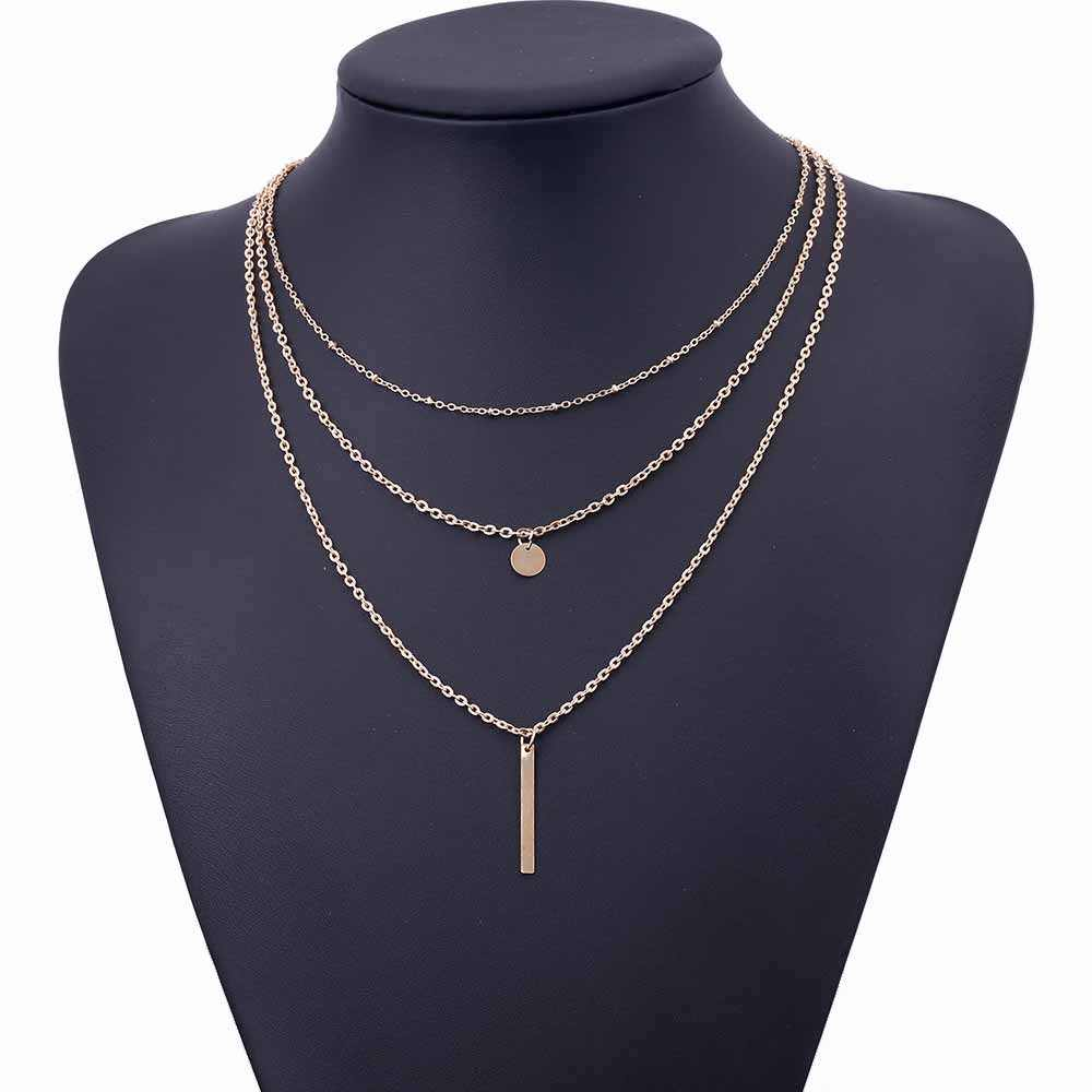 ALIUTOM 2018 Women's Fashion Jewelery Colar 1pc European Simple Gold Silver Multilayer Bar Coins Necklace Chainbone Chain