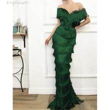 Arabic Emerald Green Tassel Evening Dress Mermaid Long Crystal Off the Shoulder Elegant Women Formal Prom Dresses in Dubai