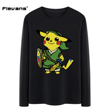 Flevans 2017 New Men Tshirts Game The Legend of Zelda x Pikachu Funny Design Cartoon Printed T-shirt Tops Tees for Man