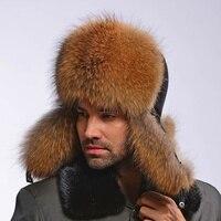 2015 Fashion Warm Winter Men Hat With Fur Real Natural Raccoon Fur Cap Genuine Black Sheepskin
