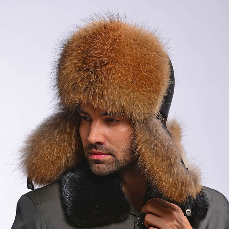 2018 Fashion warm winter men hat with fur real natural raccoon fur cap genuine black sheepskin leather Russia style warm hats hl112 men s real leather baseball cap hat winter warm russian one fur beret belt gatsby hunting caps hats with real fur inside