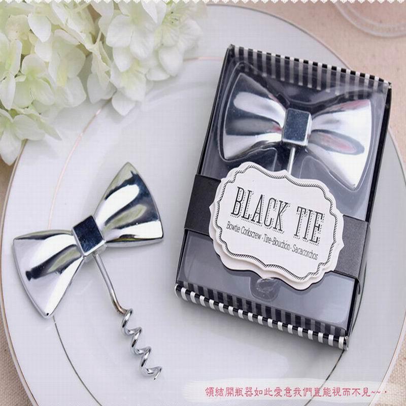 Top 100 Wedding Gifts: Wholesale 100pcs Wedding Favor Black Tie Bottle Opener Bow