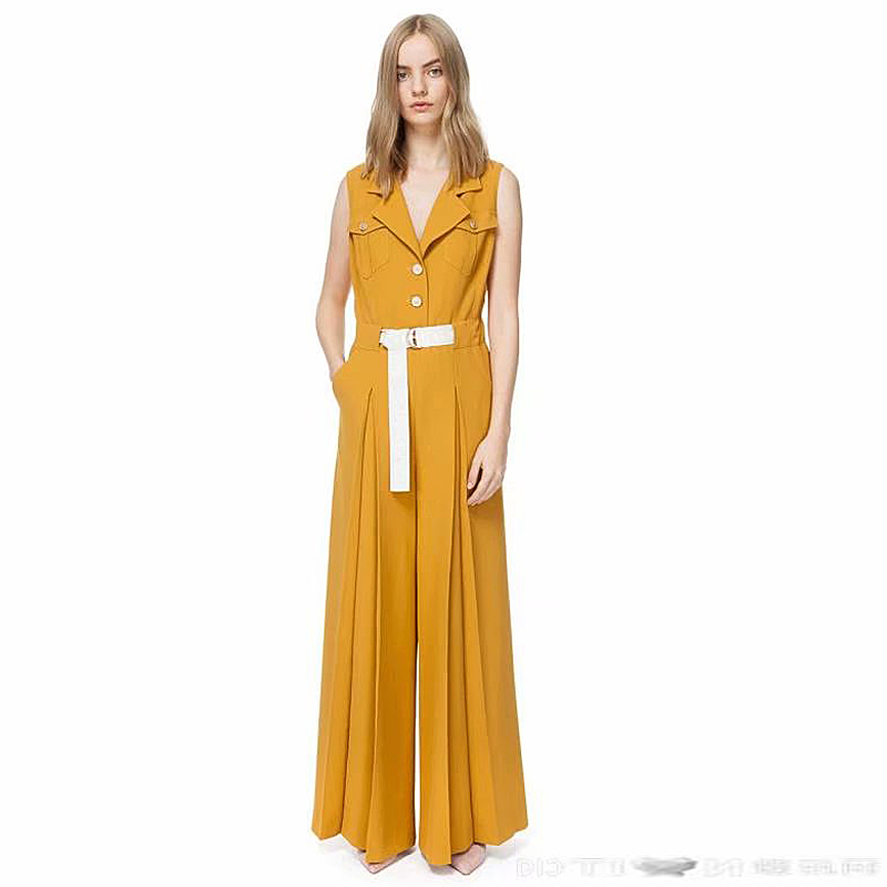 Rompers High Quality Summer New Fashion Women S Party Workplace Elegant Vintage Chic Office Sexy Yellow