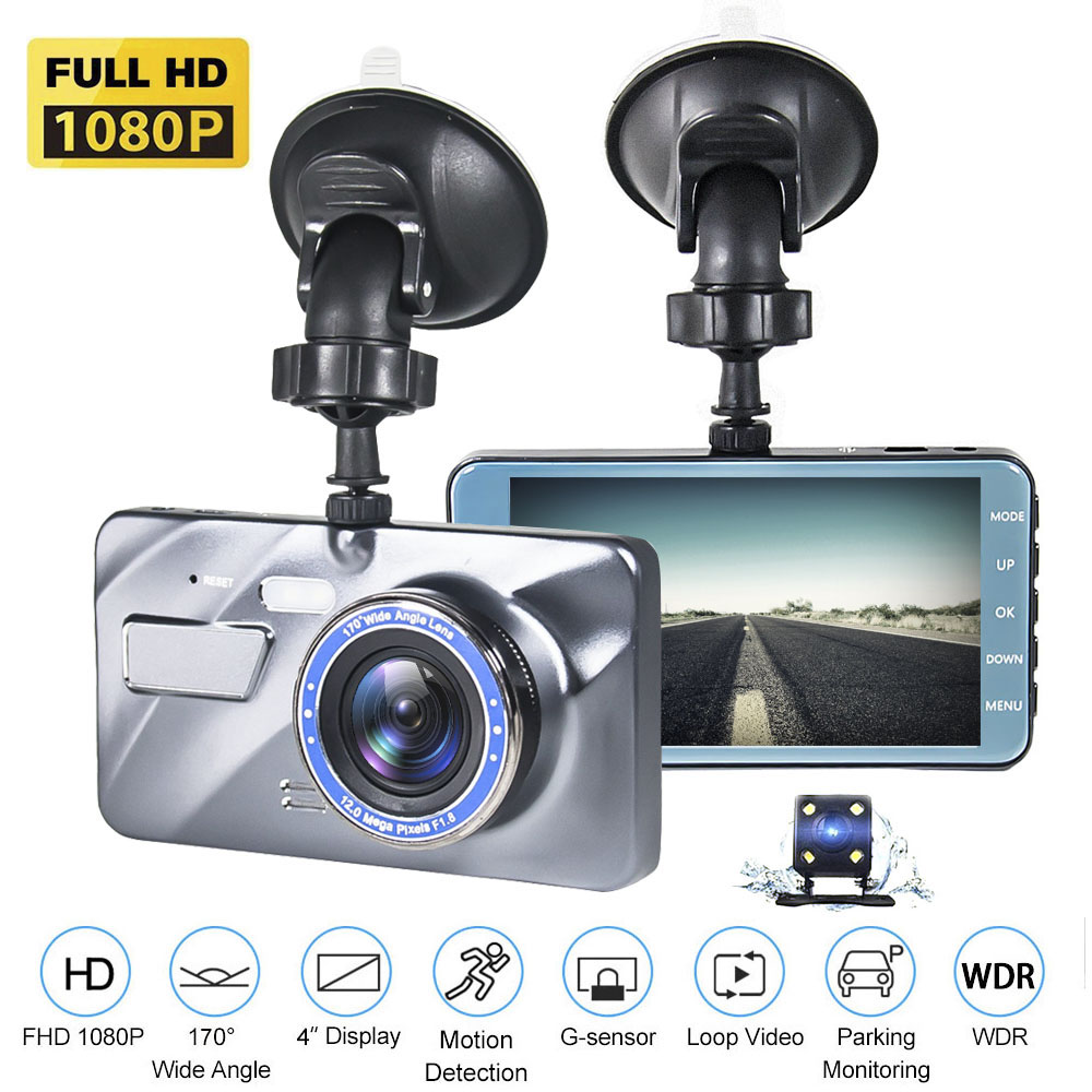 170 wide angle 8 Led Lights Dashcam for Cars with Night Vision G-Sensor Loop Recording 1080P 4 Inches Metal Body Car Camera Dual Dash Cam Front and Rear Camera IPS Screen