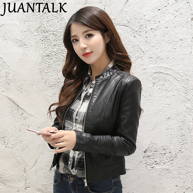 JUANTALK Fashion Brand Spring Autumn Women Stand-up Collar Faux Soft   Leather   Jacket PU Zippers Long Sleeve Slim Coat