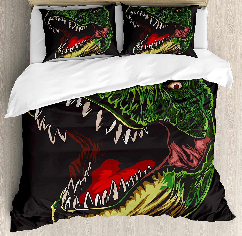 Dinosaur Duvet Cover Set, Aggressive Wild T-Rex Head Colorful Hand Drawn Style Jurassic Period, 4 Piece Bedding Set