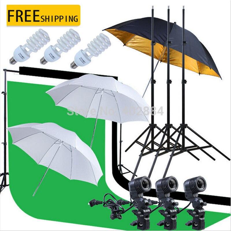 Photo Studio 3x2 M vert noir blanc mousseline toile de fond 2x2 M Support de fond E27 porte-lampe doux réfléchissant parapluie 45 W ampoules