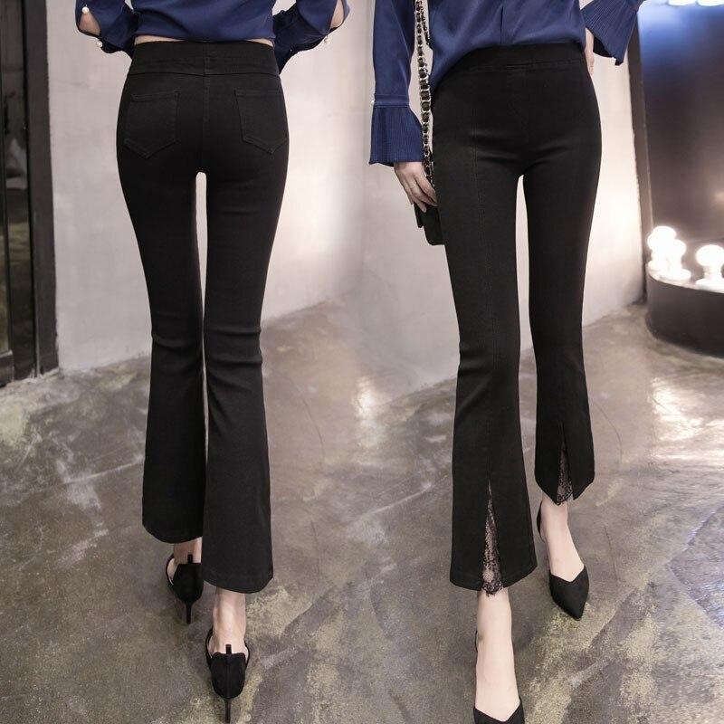 Fashon Store 3xl plus big size panty women spring summer style autumn 2017 feminina high waist split flared thin black pants female Y0426