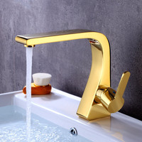 Basin Faucet Bathroom Brass Sink Mixer Tap Lavatory Hot & Cold Single Handle Deck Mounted Gold/Black/Chrome Water Crane Faucet