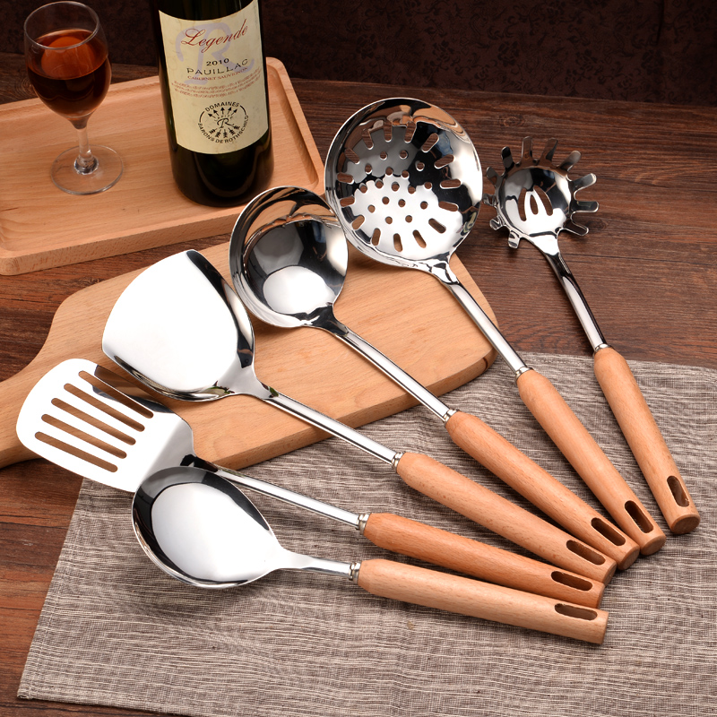 Cook <font><b>tools</b></font> <font><b>Inox</b></font> Kitchenware Sets Chef Household <font><b>Kitchen</b></font> Utensils full Suit Spatula Shovel Cooking Spoon Strainer w/Wooden Handle image