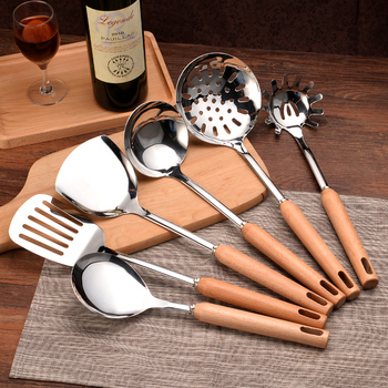 Cook tools Inox Kitchenware Sets Chef Household Kitchen Utensils full Suit Spatula Shovel Cooking Spoon Strainer w/Wooden Handle