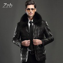 2017 Winter Coat Men Leather Long Warm Snow Coat Men's Leather Down Jackets Turn down fur  Collar Male Zipper Overcoat Clothes