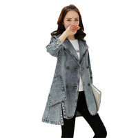2017 Mới Mùa Xuân Mùa Thu của Phụ Nữ Denim Jacket Giản Dị Ba Quý Tay Áo Đôi Ngực Jeans Dài Áo Gió Áo Khoác Nữ L194