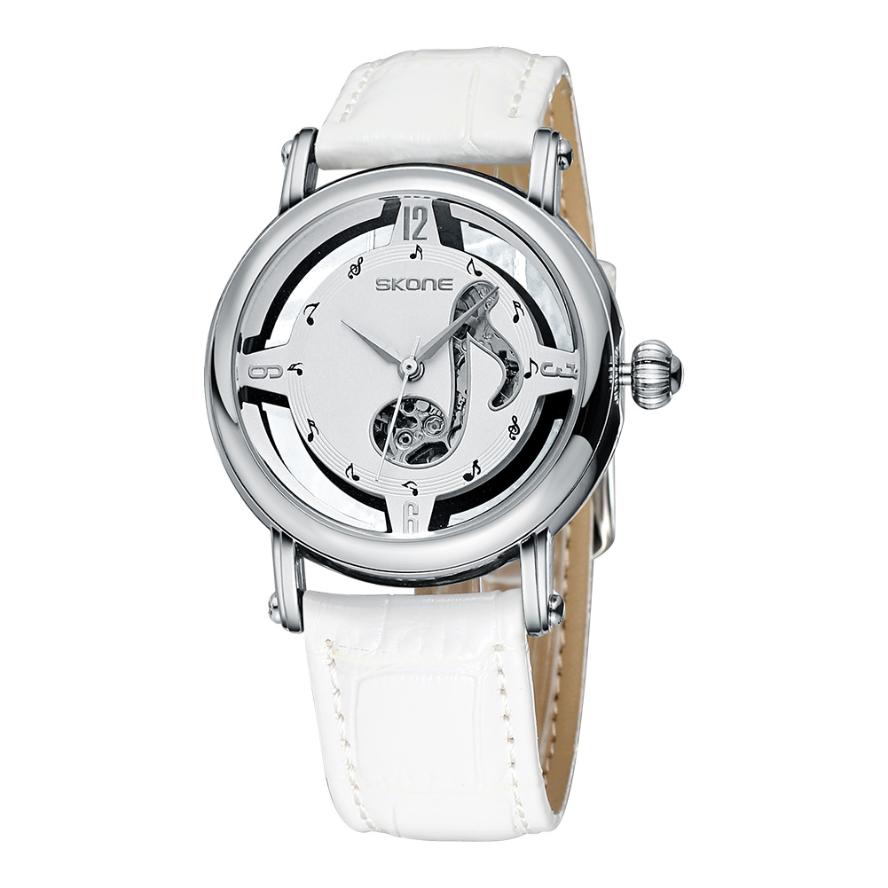 ФОТО SKONE Luxury Genuine Leather band Hollow Note Dial Female Automatic Movement Watches