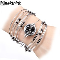 GEEKTHINK Brand NEW Bohemian Style Bracelet Watch Women Ladies Casual Dress Steel Band Bangle Clock Female
