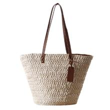 Women Single Shoulder Beach Straw Bag Simple Fashionable Woven Casual Totes Natural In Style Brand New