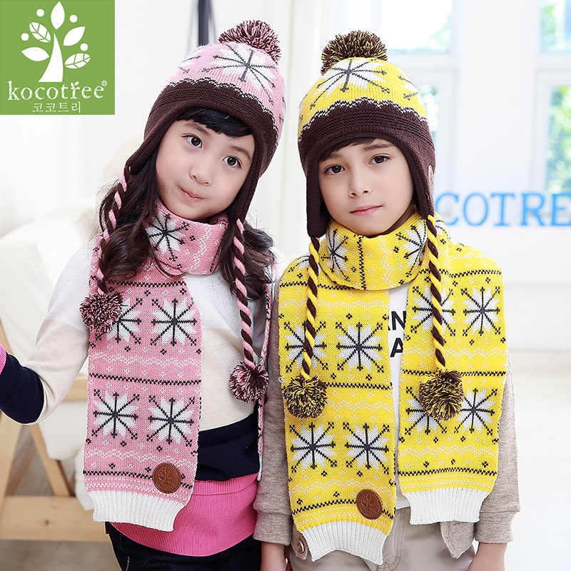 Kocotree Children Winter Hat Scarf Gloves Set Snowflake Pattern Knit Kids Beanie Caps Neck Warmers Mittens Suits For Boys Girls