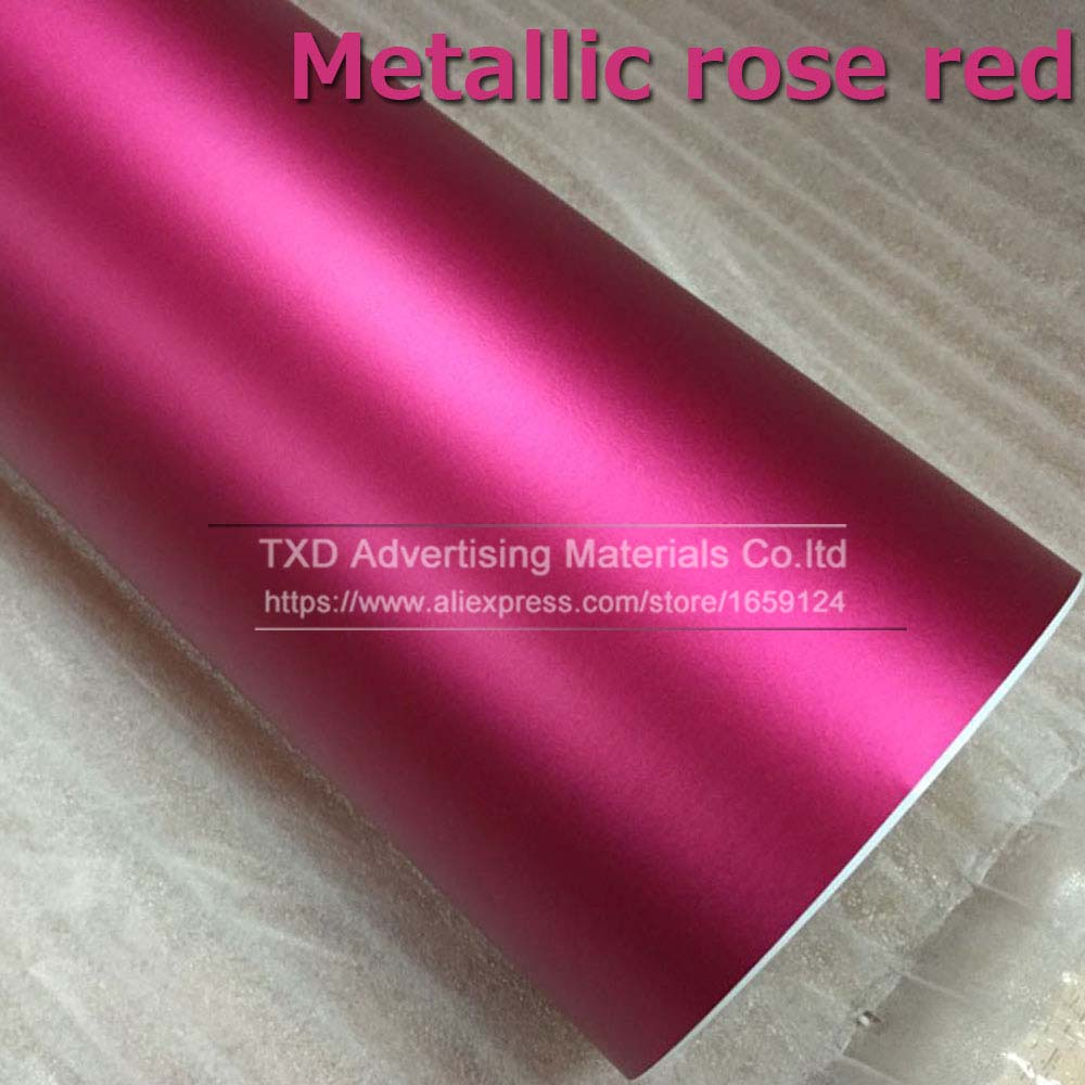 Синий Матовый Металлик Виниловая пленка для автомобиля с воздушными пузырьками хромированная матовая виниловая пленка синяя матовая пленка для автомобиля - Название цвета: rose red