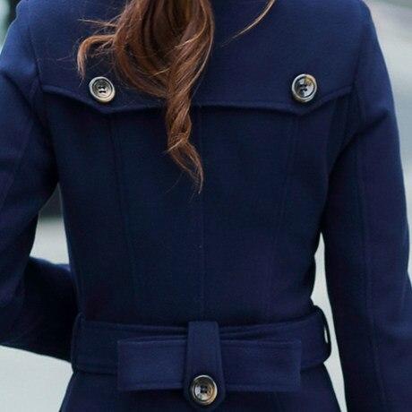 Épais Mode Manteaux Hiver S1122 Solide Laine Plus La Automne À Femmes Pardessus Longue Navy Belle Taille Nouveau Longues Manches Casual BqSZABw