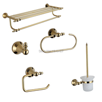 2017 Time limited Top Classic Gold Metal Copper Luxurious Solid Brass 5pcs Bath Hardware Set