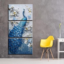 цена на 3 Pieces Frame Unframe Canvas Print Blue Peacock and White Flowers Canvas Paintings for Hallway Bar Home Wall Decor Animal Art