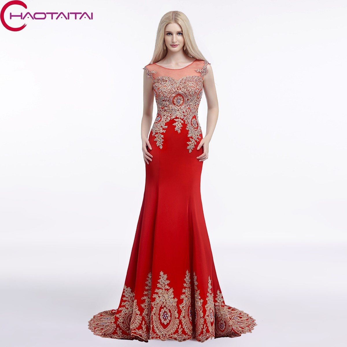 Floor- Length See Through Party Robe De Soiree Formal Red Black Mermaid Evening Dresses Scoop Neck 2018 Lace Up In Stock
