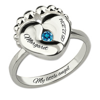 Wholesale Baby Feet Birthstone Ring White Gold Color Sterling Silver Ring With Personalized Jewelry for New Mom