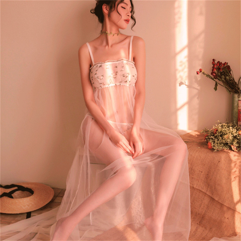 Women Sexy Erotic Lingerie Babydoll Sleepwear Nightgown Hot Underwear Nightwear Transparent Mesh Nightdress
