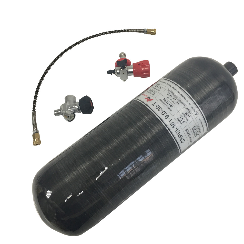 AC309101 scuba tank 9L Black Carbon Fiber Cylinder with Valve and Filling Station for Diving 30Mpa 4500psi M18*1.5 Thread HP