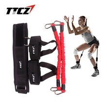 цена TTCZ Fitness Bounce Trainer Rope Resistance Band Tennis Basketball Running Jump Leg Strength Agility Training Strap equipment