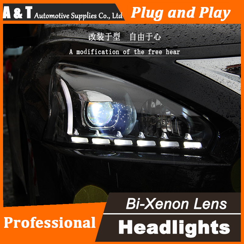 Car Styling for Nissan Teana LED Headlight 2013-2015 Teana LED DRL Lens Double Beam H7 HID Xenon bi xenon lens hireno headlamp for 2013 2015 nissan tiida headlight assembly led drl angel lens double beam hid xenon 2pcs
