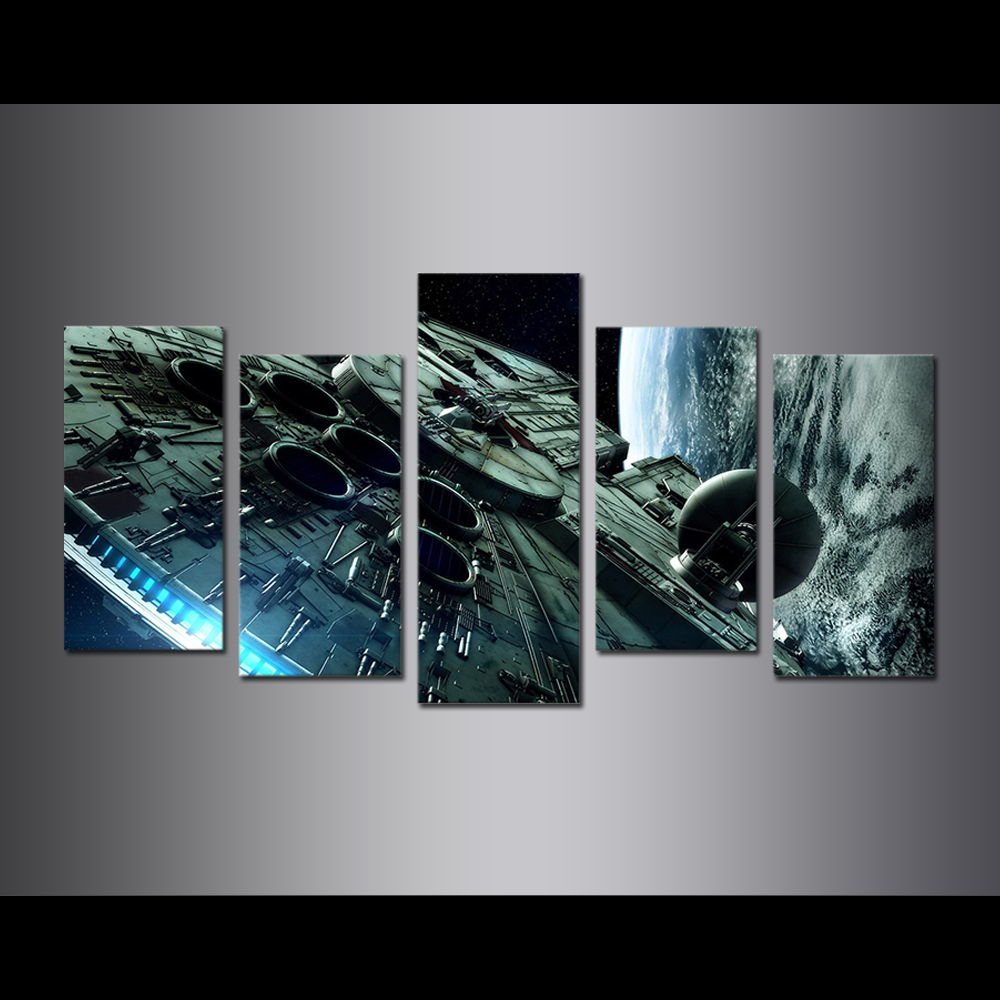 Unframed Canvas Painting Animation Spacecraft Earth Modular Picture Prints Pictures For Living Room Wall Art Decoration