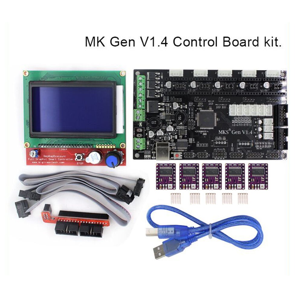 MKS Gen V1.4 control Board kit with MKS Gen V1.4 RepRap board + 5PCS TMC2100 Driver/8825/A4988 + 12864 display LCD цена