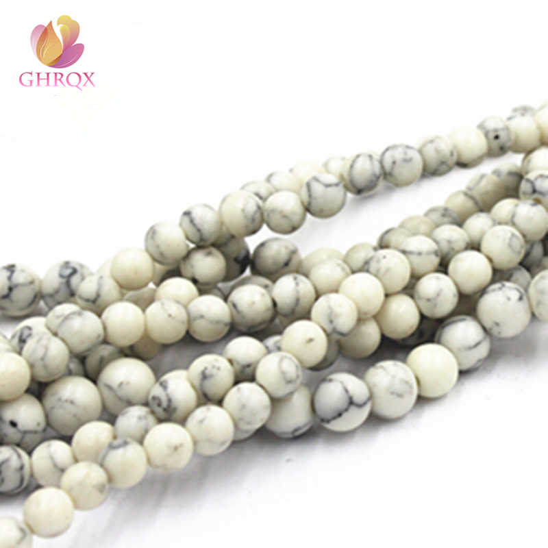 Natural  White Stone 4MM 6MM 8MM 10MM 12 mm  Round Beads Fit Jewelry DIY making