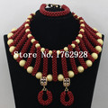Red African Beads Jewelry Set 2016 Nigerian Wedding African Beads for Brides Party Bridal Jewelry Set Free Shipping C00806
