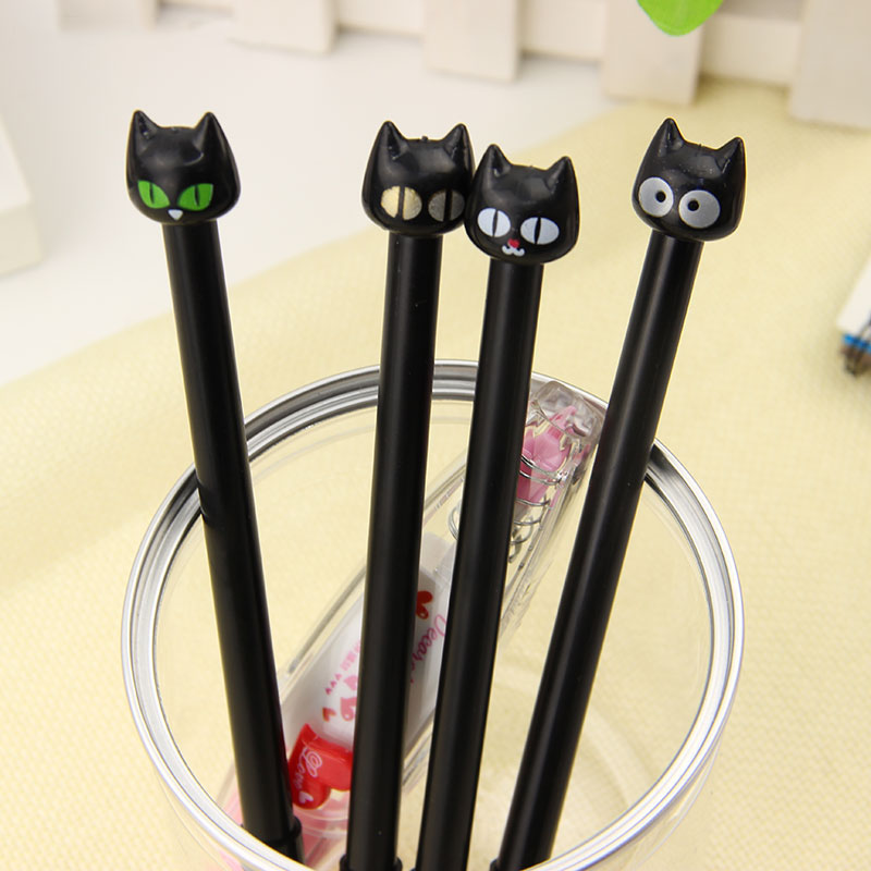 4PCS/Lot Creative Stationery Student Supplies Kawaii Cartoon Black Cat Black Gel Pen 0.5mm