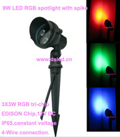 DMX compitable,high power 9W LED RGB garden light,LED RGB spotlight with spike,3*3W RGB tri chip,12V DC,DS 07 6 9W RGB
