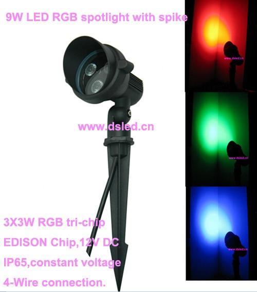 DMX compitable,high power 9W LED RGB garden light,LED RGB spotlight with spike,3*3W RGB tri-chip,12V DC,EDISON,DS-07-6-9W-RGB