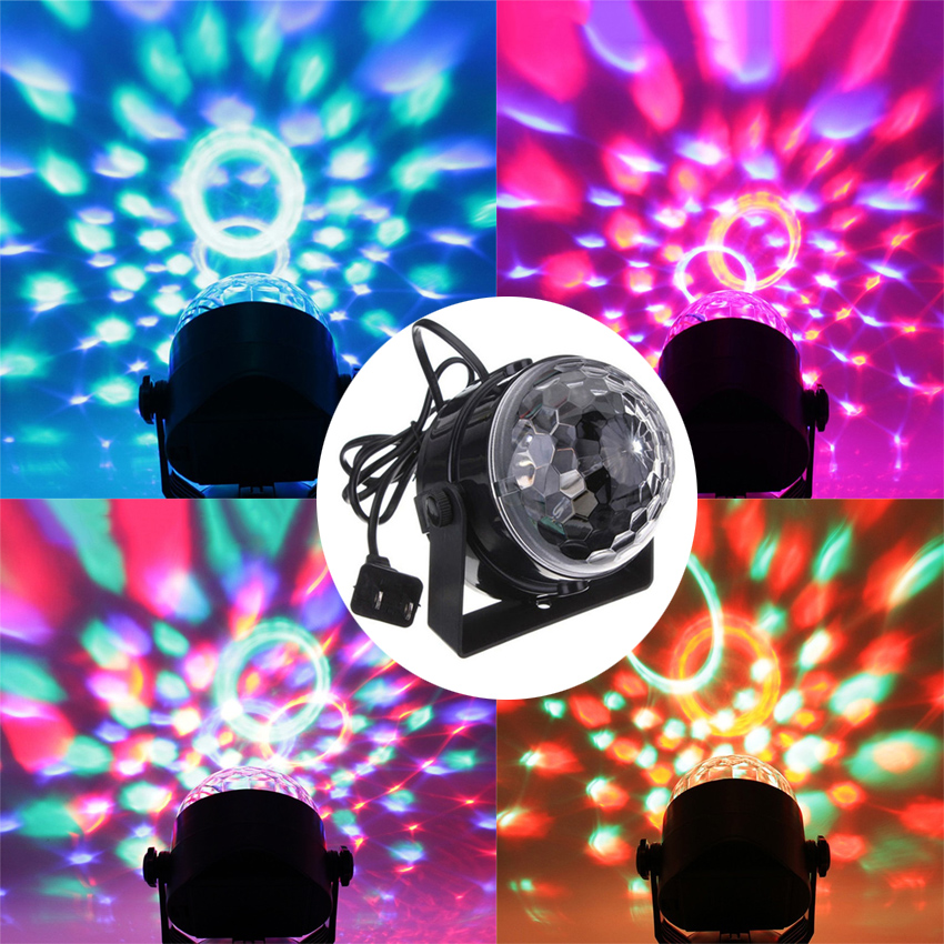 Mini Voice Control RGB Crystal Magic Ball Stage Lighting Effect Lamp Sound Activated Party Disco Club DJ Light 6w e27 led stage light rgb lamp with voice activated mp3 projector crystal magic ball rotating disco dj party stage lighting