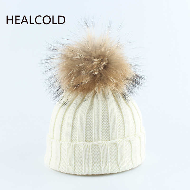 Kids Winter Hats Fur Pompom Beanie Hat Girls And Boys Knitted Warm Cap For Children 2019