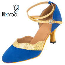 HXYOO Customized Ballroom Latin Dance Shoes Women Satin Soft Sole Blue Black Closed Toe Ladies Salsa Shoes WK041