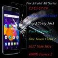 Nuevo 9 h vidrio templado film protector de pantalla para el teléfono alcatel c3 c5 C7 C9 Idol3 Pop2 7044y 5065 Pixi3 5017 7046 4009D Fierrce 2