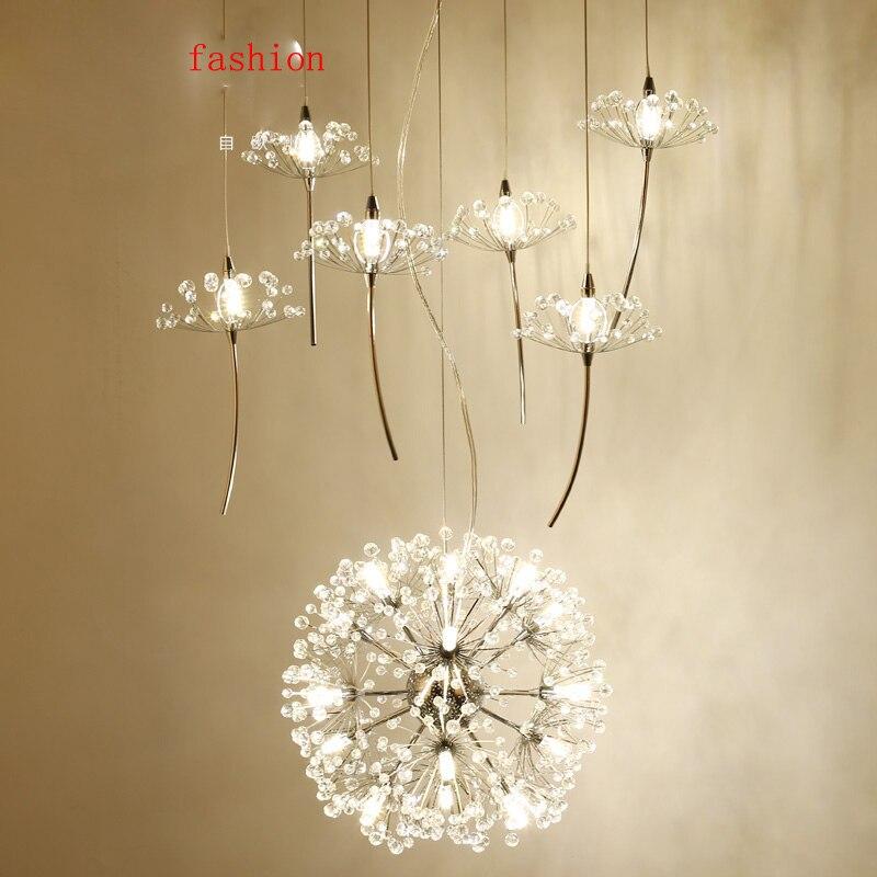 Z Northern Europe Crystal <font><b>Chandelier</b></font> Dandelion Shape Design Compound Floor <font><b>Ceiling</b></font> Fan Couture Restaurant Light Lighting Fixture