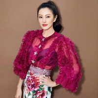 high quality ruffles lantern sleeve red blouse women tops shirts brand see through stars button runway tops brand Q065