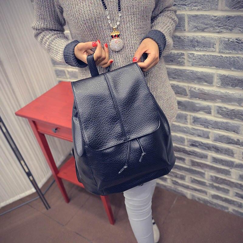 цена на Simple Fashion Korean Women Backpack Leather Solid Color Vintage Ladies Girl School Shoulder Bag Big Capacity For Travel Popular